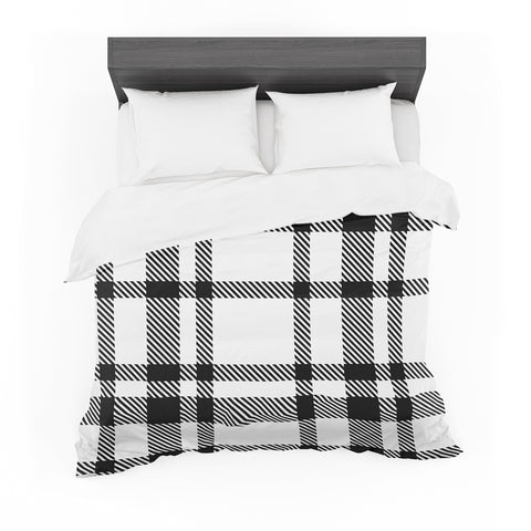 "KESS Original ""Night and Day"" White Black Plaid Pattern Featherweight Duvet Cover"