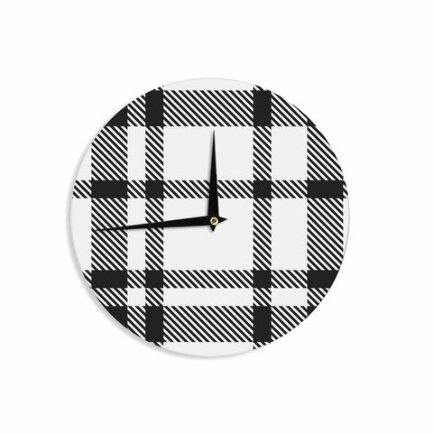 "KESS Original ""Night and Day"" White Black Plaid Pattern Wall Clock"