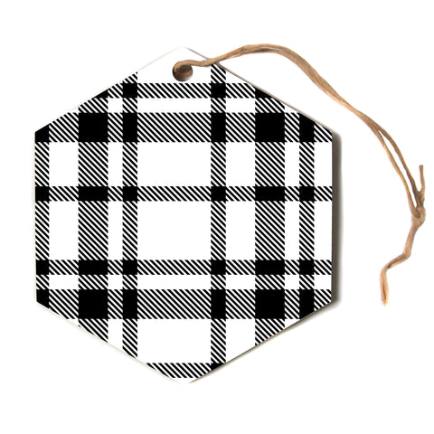 "KESS Original ""Night and Day"" White Black Plaid Pattern Hexagon Holiday Ornament"