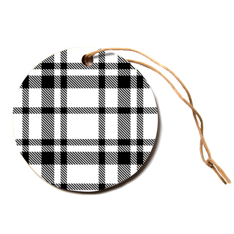 "KESS Original ""Night and Day"" White Black Plaid Pattern Circle Holiday Ornament"