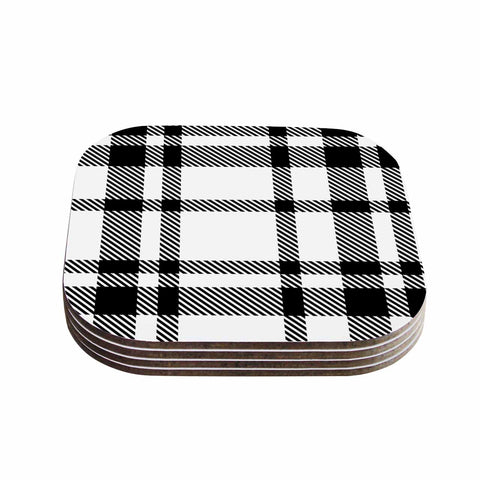 "KESS Original ""Night and Day"" White Black Plaid Pattern Coasters (Set of 4)"