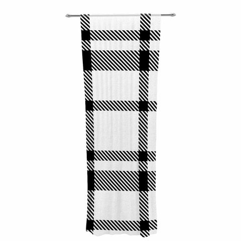 "KESS Original ""Night and Day"" White Black Plaid Pattern Decorative Sheer Curtain"