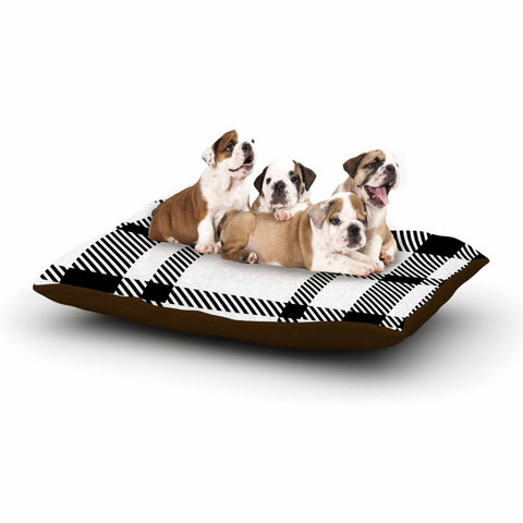 "KESS Original ""Night and Day"" White Black Plaid Pattern Dog Bed"