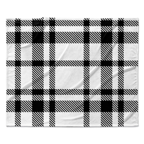 "KESS Original ""Night and Day"" White Black Plaid Pattern Fleece Throw Blanket"