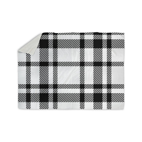 "KESS Original ""Night and Day"" White Black Plaid Pattern Sherpa Blanket"