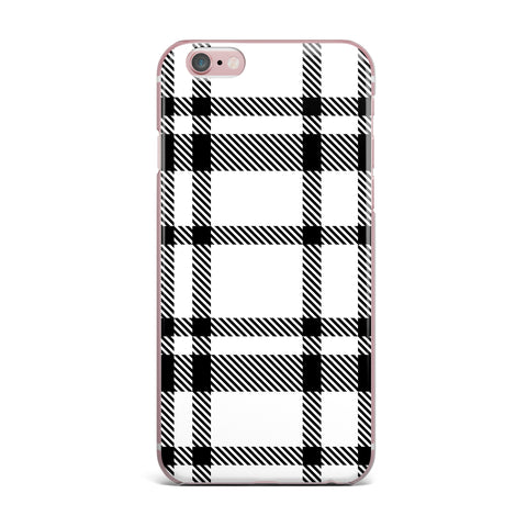 "KESS Original ""Night and Day"" White Black Plaid Pattern iPhone Case"