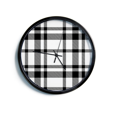 "KESS Original ""Night and Day"" White Black Plaid Pattern Modern Wall Clock"