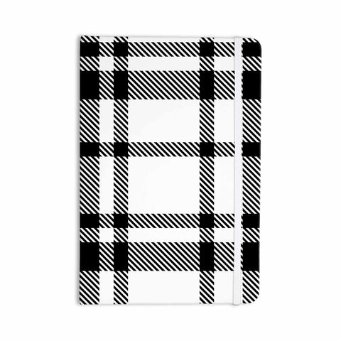 "KESS Original ""Night and Day"" White Black Plaid Pattern Everything Notebook"