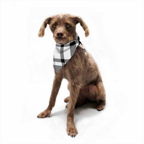 "KESS Original ""Night and Day"" White Black Plaid Pattern Pet Bandana"