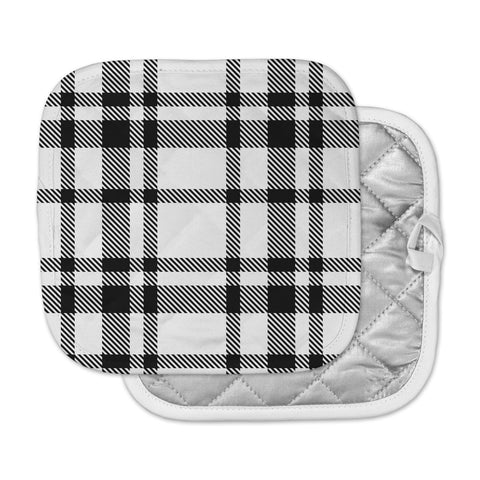 "KESS Original ""Night and Day"" White Black Plaid Pattern Pot Holder"