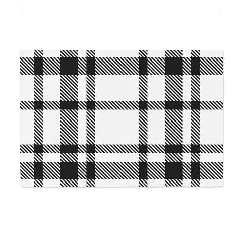 "KESS Original ""Night and Day"" White Black Plaid Pattern Place Mat"