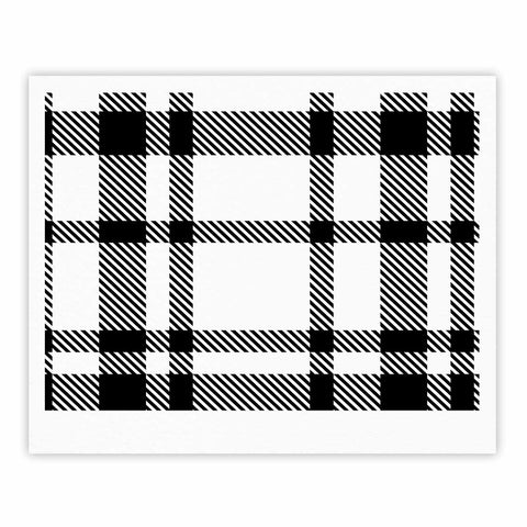 "KESS Original ""Night and Day"" White Black Plaid Pattern Fine Art Gallery Print"