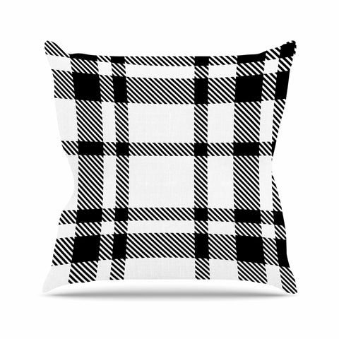 "KESS Original ""Night and Day"" White Black Plaid Pattern Outdoor Throw Pillow"