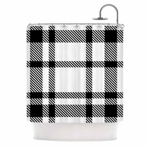 "KESS Original ""Night and Day"" White Black Plaid Pattern Shower Curtain"