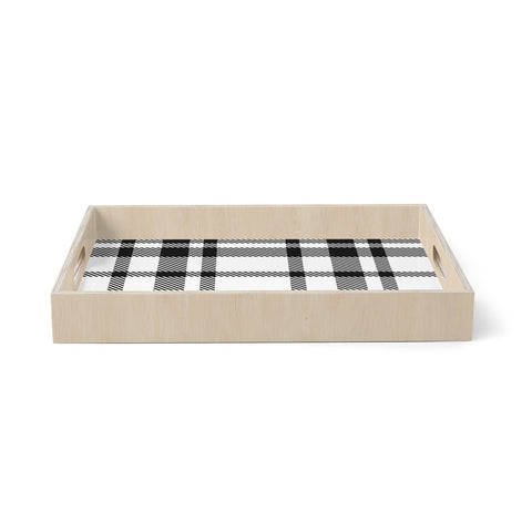 "KESS Original ""Night and Day"" White Black Plaid Pattern Birchwood Tray"