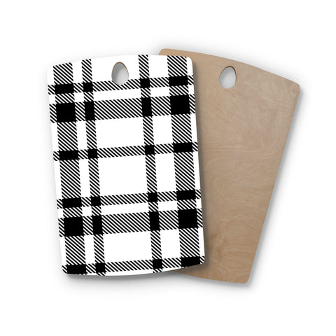 "KESS Original ""Night and Day"" White Black Plaid Pattern Rectangle Wooden Cutting Board"