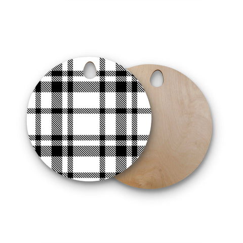 "KESS Original ""Night and Day"" White Black Plaid Pattern Round Wooden Cutting Board"