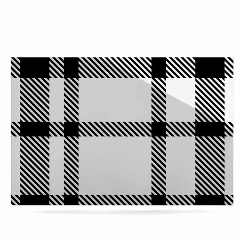 "KESS Original ""Night and Day"" White Black Plaid Pattern Luxe Rectangle Panel"