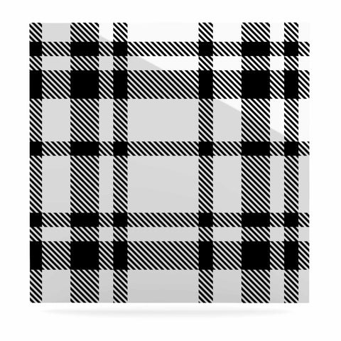 "KESS Original ""Night and Day"" White Black Plaid Pattern Luxe Square Panel"