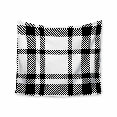 "KESS Original ""Night and Day"" White Black Plaid Pattern Wall Tapestry"