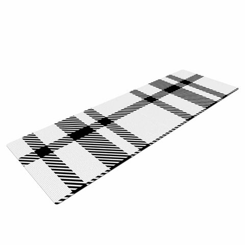 "KESS Original ""Night and Day"" White Black Plaid Pattern Yoga Mat"
