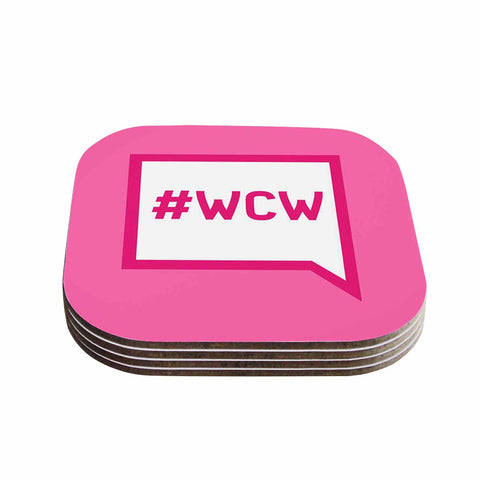 "KESS Original ""Women Crush Wednesday"" Pink White Coasters (Set of 4) - Outlet Item"