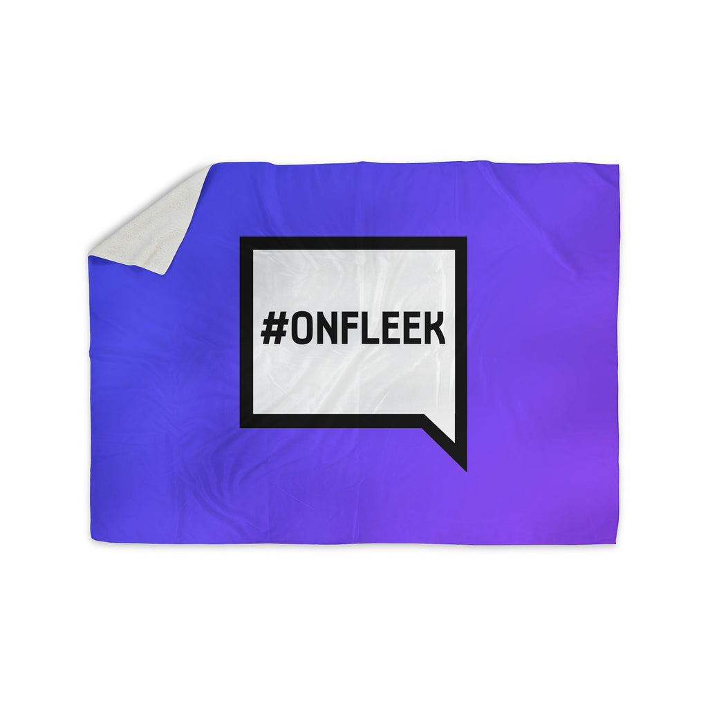 "KESS Original ""On Fleek"" White Purple Sherpa Blanket - KESS InHouse  - 1"