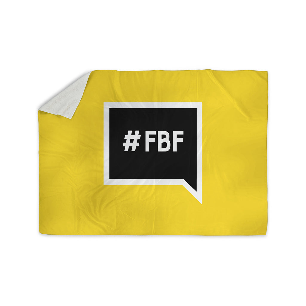 "KESS Original ""Flash Back Friday"" Black Yellow Sherpa Blanket - KESS InHouse  - 1"