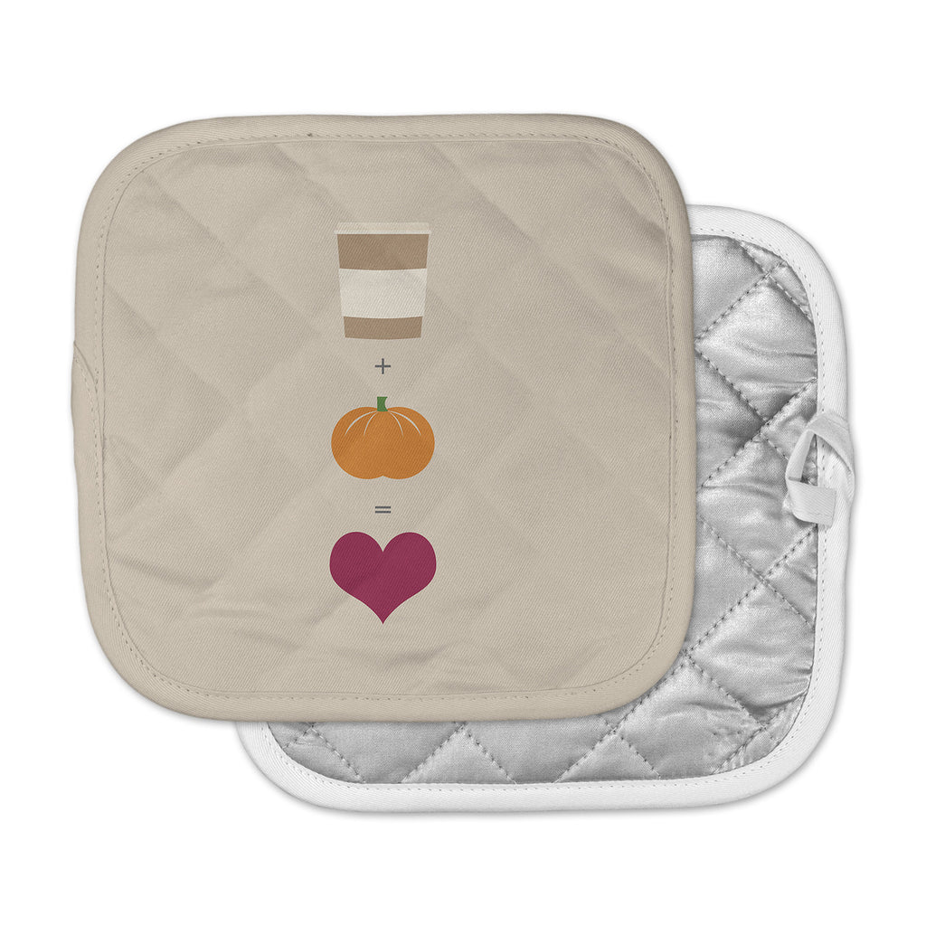 "KESS Original ""Pumpkin Spice Latte"" Tan Orange Pot Holder"
