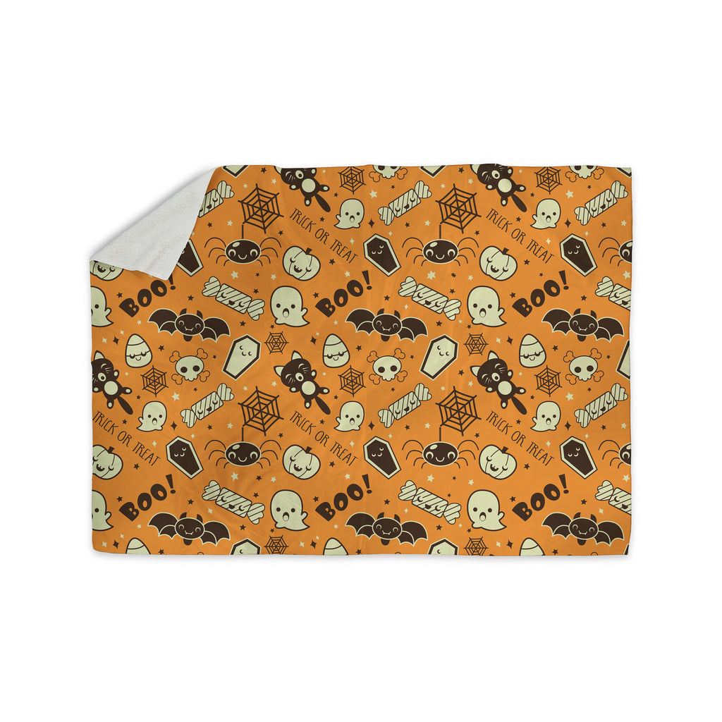 "KESS Original ""All Cute Halloween"" Orange Pattern Sherpa Blanket - KESS InHouse  - 1"