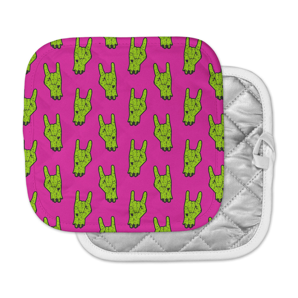 "KESS Original ""Zombie Rock"" Green Magenta Pot Holder"