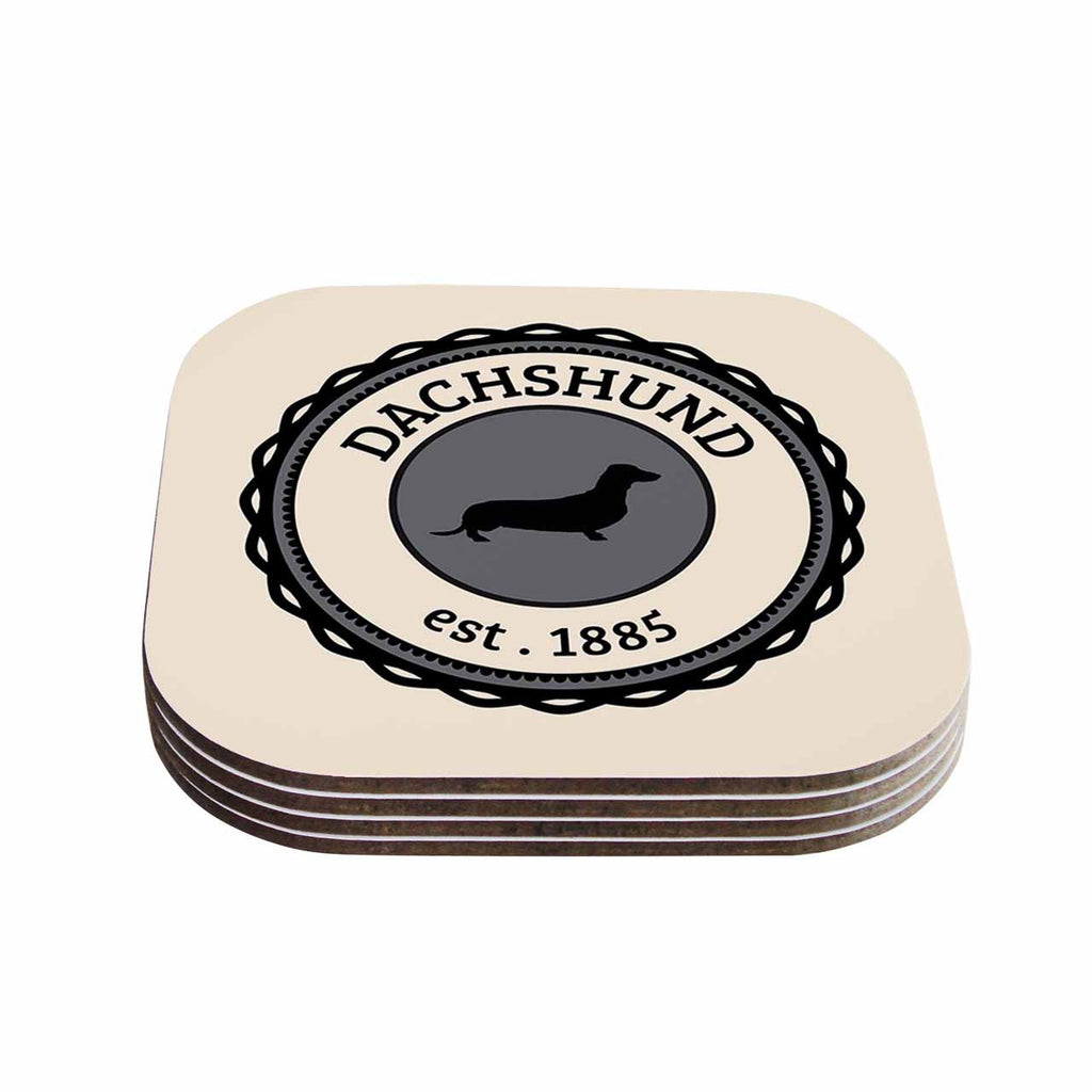 "KESS Original ""Dachshund"" Beige Black Coasters (Set of 4)"