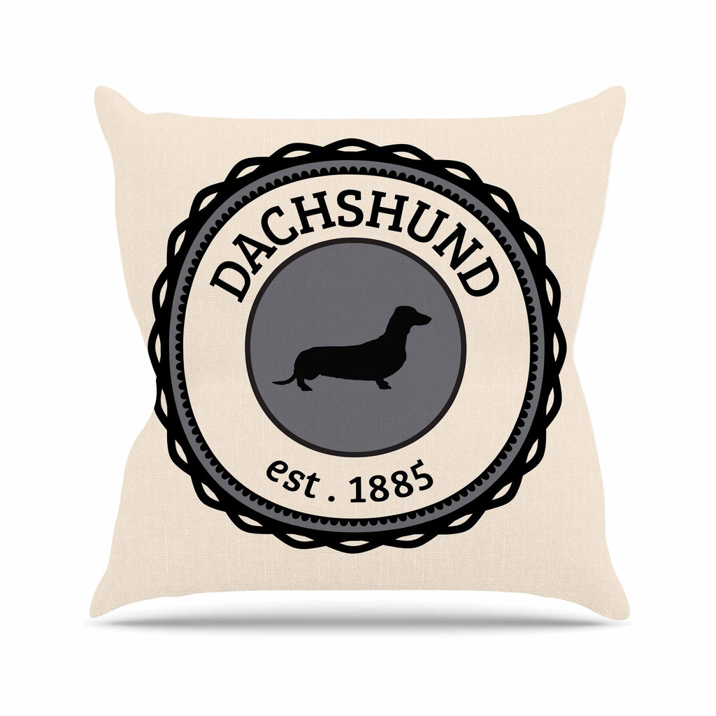 "KESS Original ""Dachshund"" Beige Black Throw Pillow - KESS InHouse  - 1"