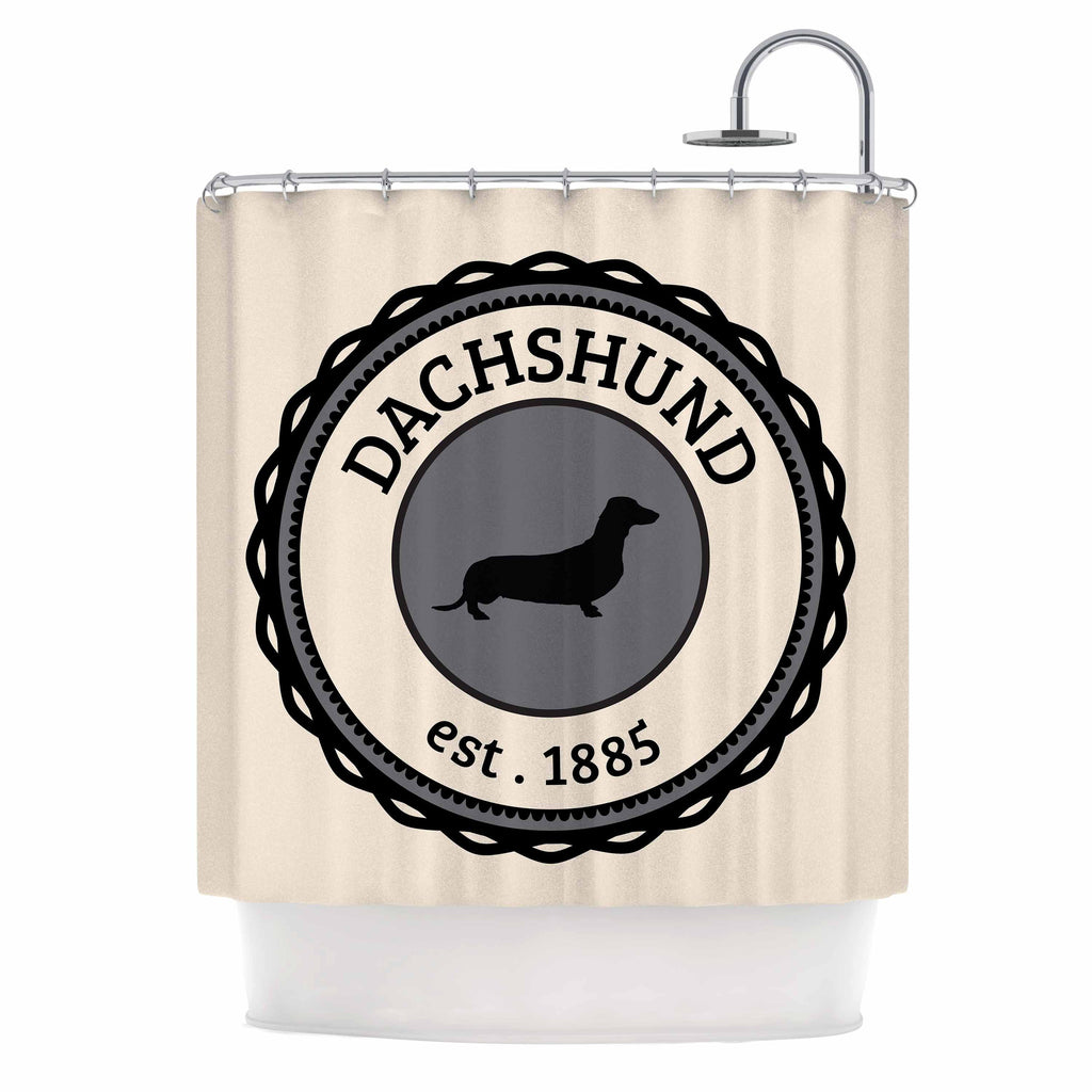 "KESS Original ""Dachshund"" Beige Black Shower Curtain - KESS InHouse"