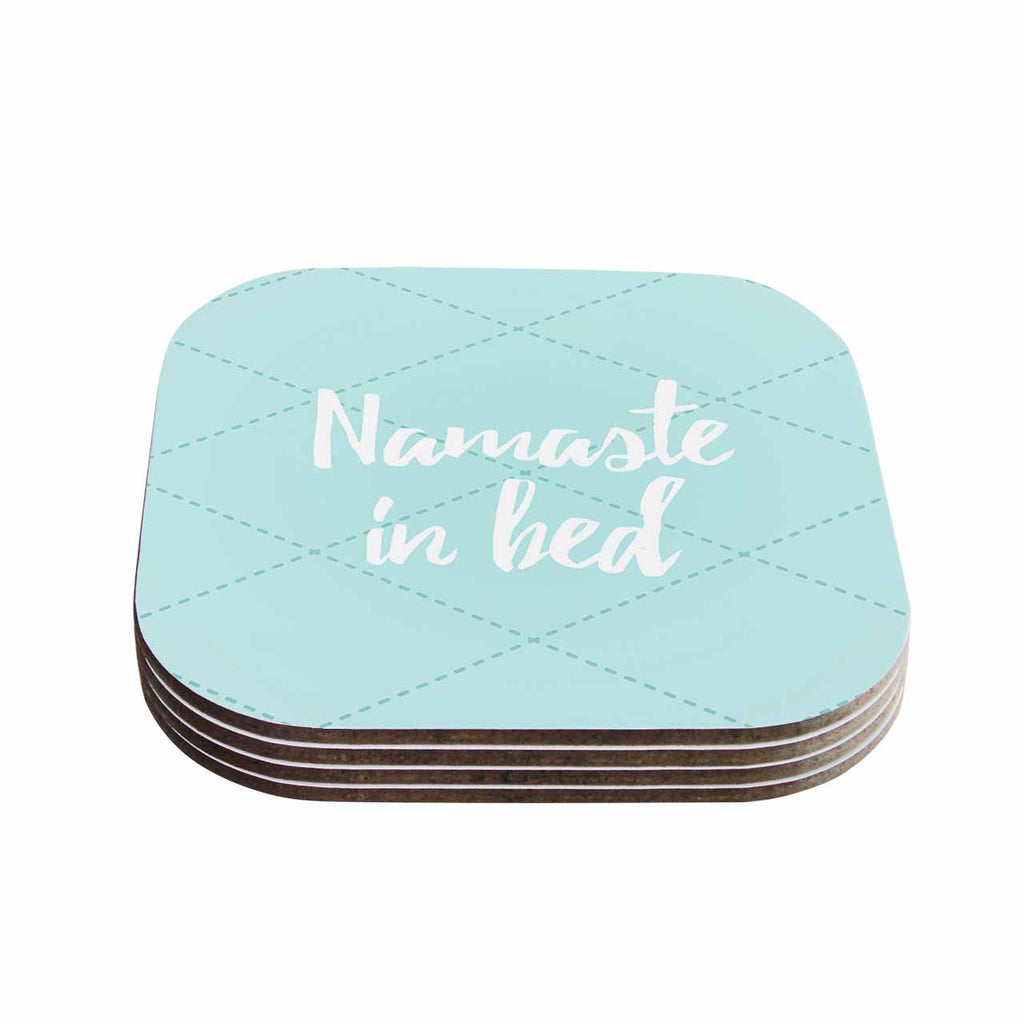 "KESS Original ""Namaste In Bed Teal"" Blue White Coasters (Set of 4)"