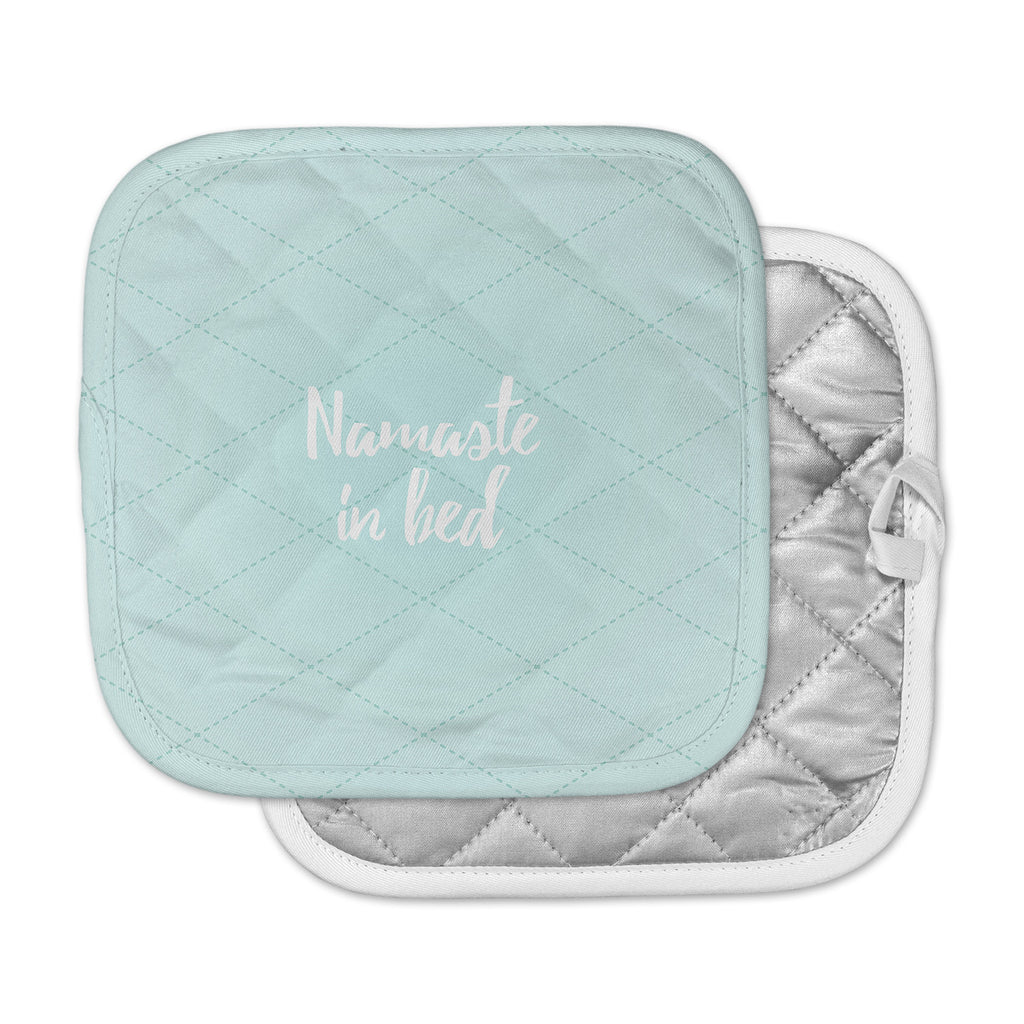 "KESS Original ""Namaste In Bed Teal"" Blue White Pot Holder"