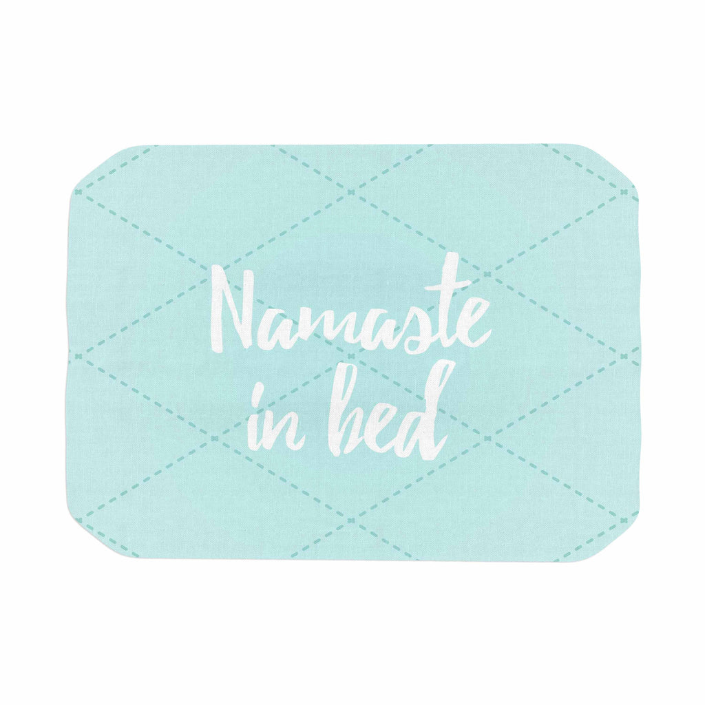 "KESS Original ""Namaste In Bed Teal"" Blue White Place Mat - KESS InHouse"