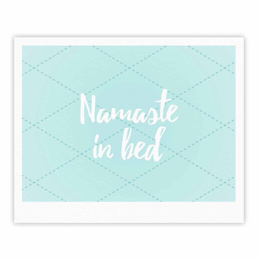 "KESS Original ""Namaste In Bed Teal"" Blue White Fine Art Gallery Print - KESS InHouse"
