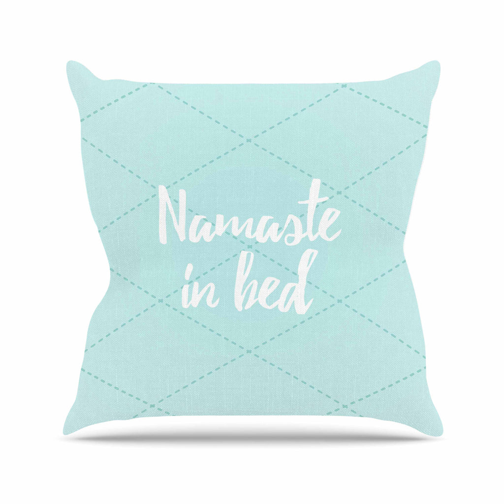 "KESS Original ""Namaste In Bed Teal"" Blue White Throw Pillow - KESS InHouse  - 1"