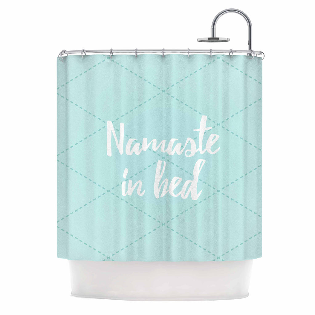 "KESS Original ""Namaste In Bed Teal"" Blue White Shower Curtain - KESS InHouse"