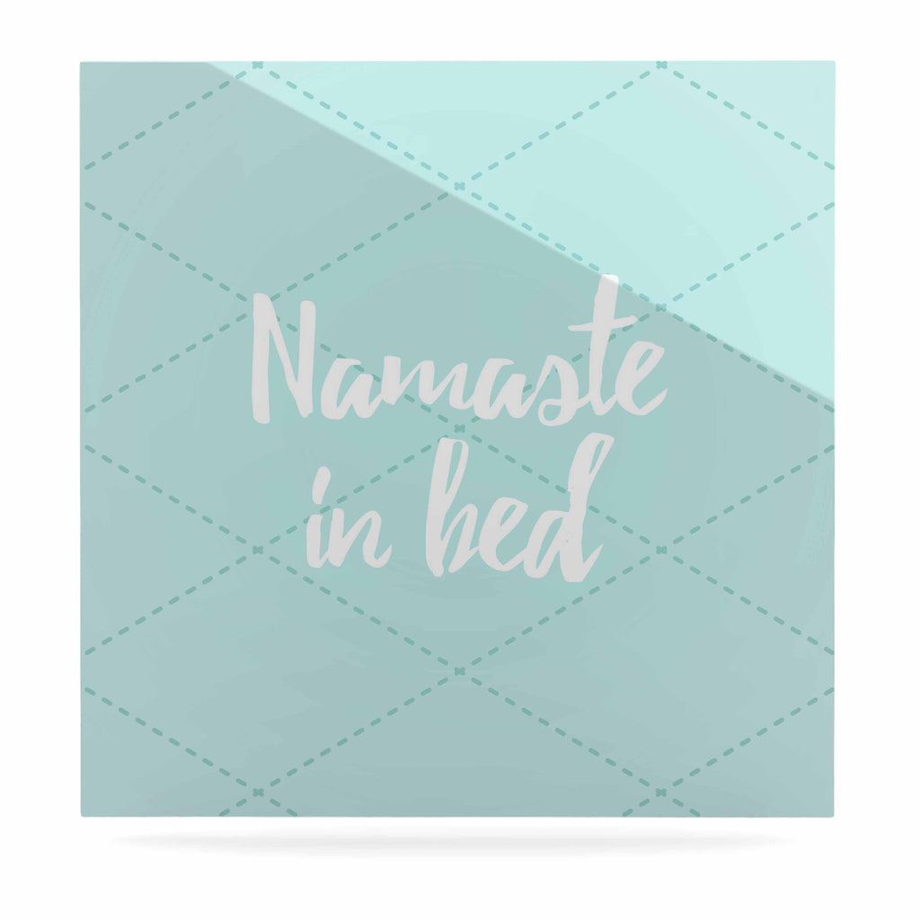 "KESS Original ""Namaste In Bed Teal"" Blue White Luxe Square Panel - KESS InHouse  - 1"
