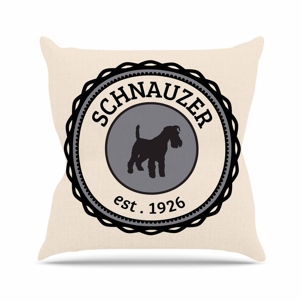 "KESS Original ""Schnauzer"" Beige Black Outdoor Throw Pillow - KESS InHouse  - 1"