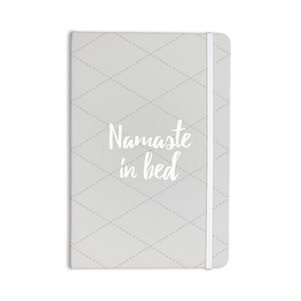 "KESS Original ""Namaste In Bed Grey"" White Gray Everything Notebook - KESS InHouse  - 1"