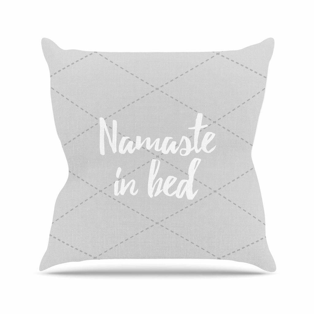 "KESS Original ""Namaste In Bed Grey"" White Gray Throw Pillow - KESS InHouse  - 1"