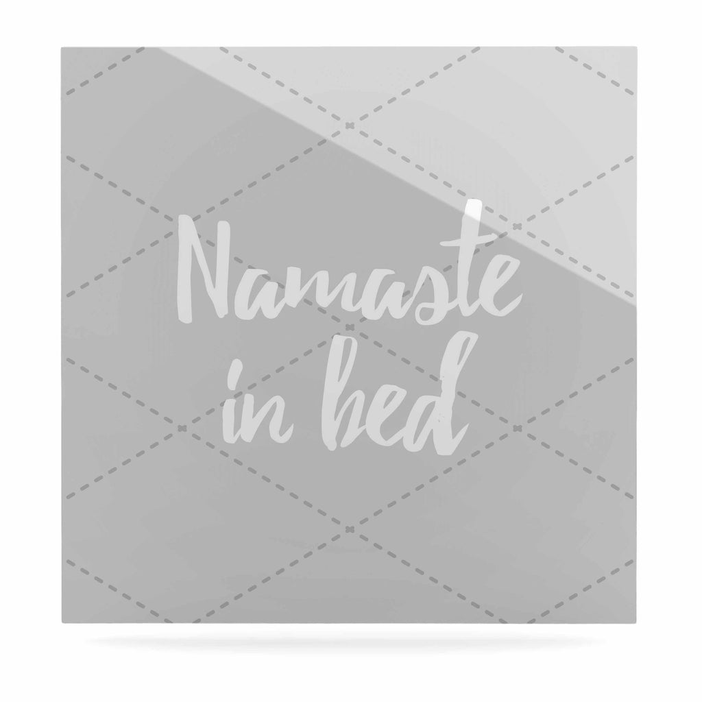 "KESS Original ""Namaste In Bed Grey"" White Gray Luxe Square Panel - KESS InHouse  - 1"