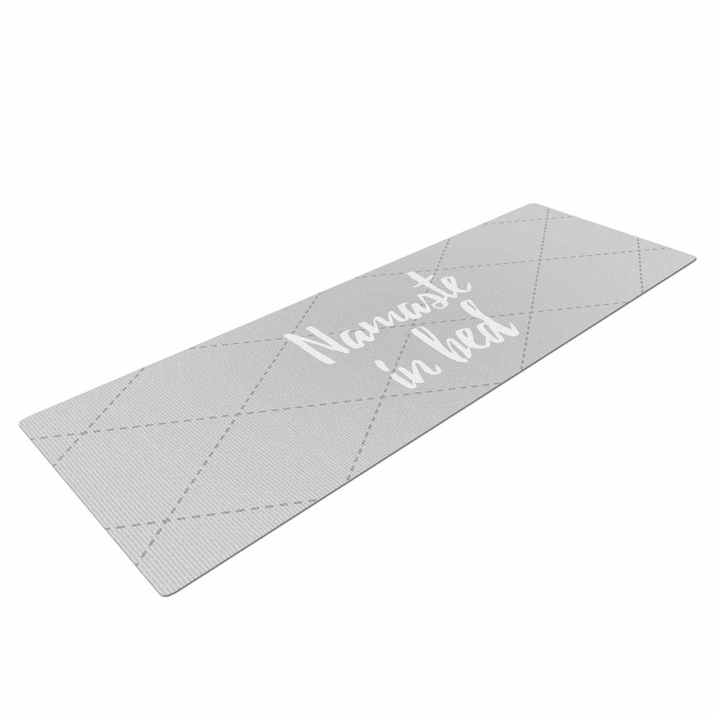"KESS Original ""Namaste In Bed Grey"" White Gray Yoga Mat - KESS InHouse  - 1"