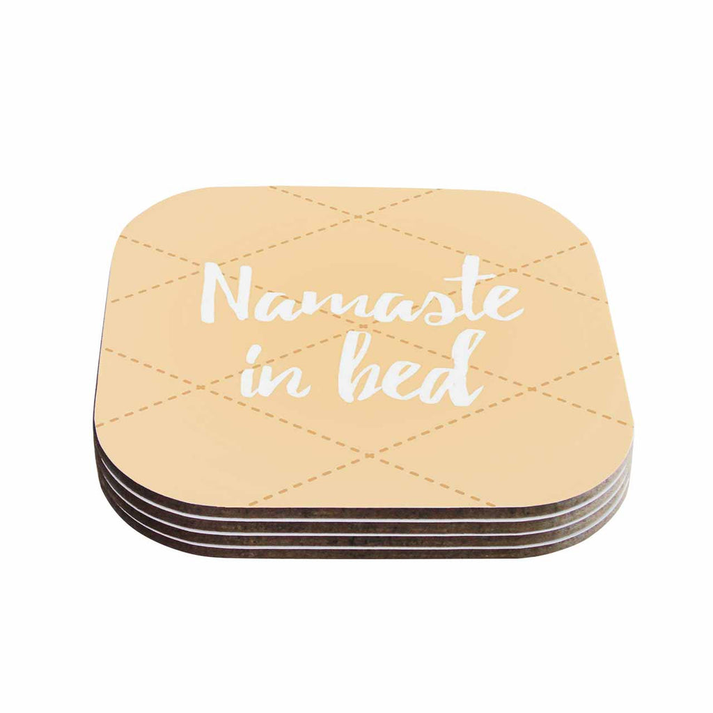 "KESS Original ""Namaste In Bed Yellow"" Tan White Coasters (Set of 4)"