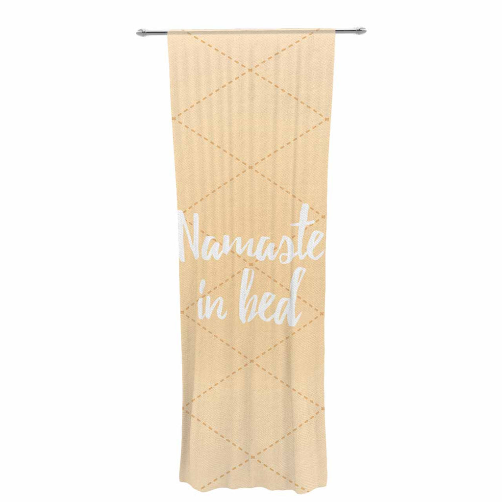 "KESS Original ""Namaste In Bed Yellow"" Tan White Decorative Sheer Curtain - KESS InHouse  - 1"