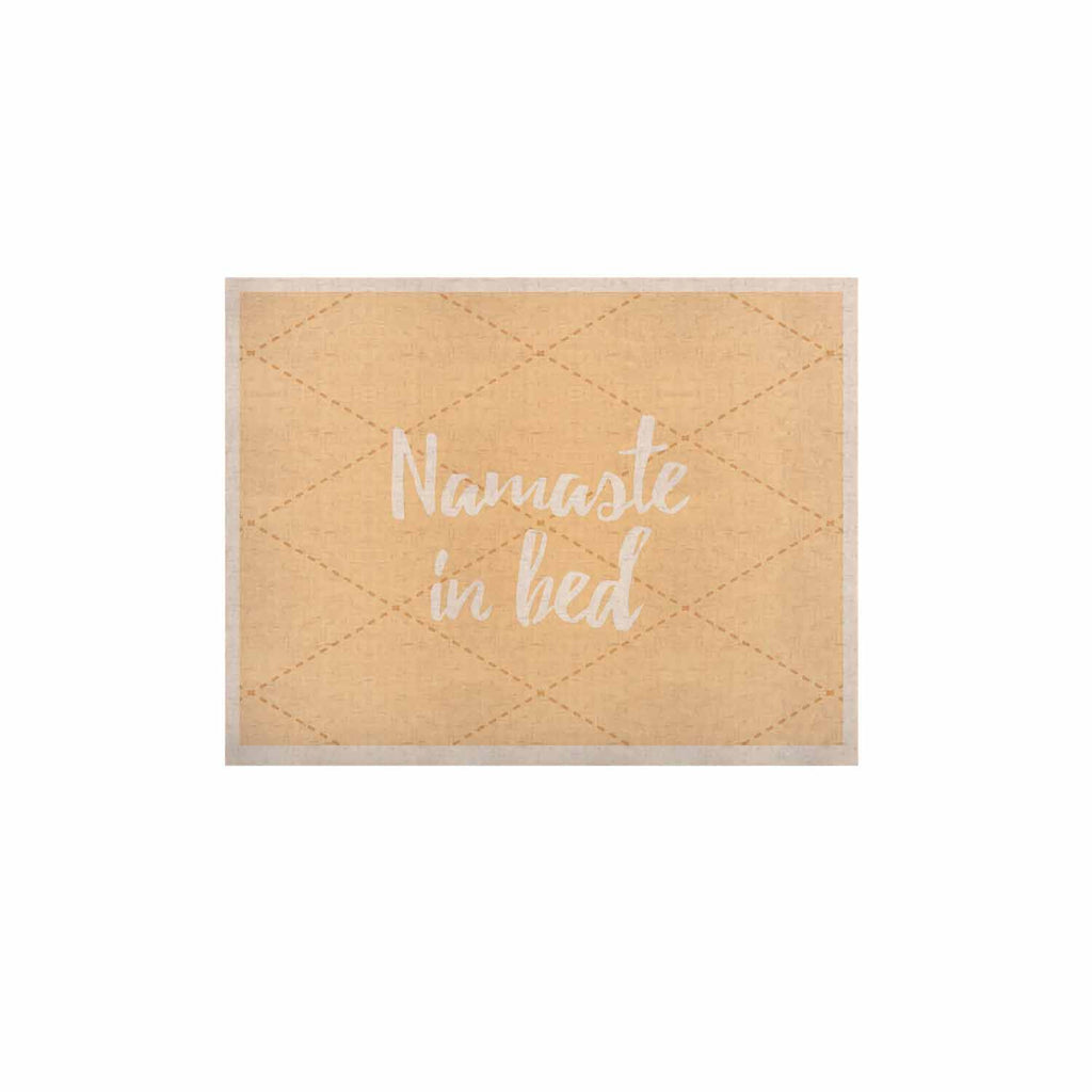 "KESS Original ""Namaste In Bed Yellow"" Tan White KESS Naturals Canvas (Frame not Included) - KESS InHouse  - 1"