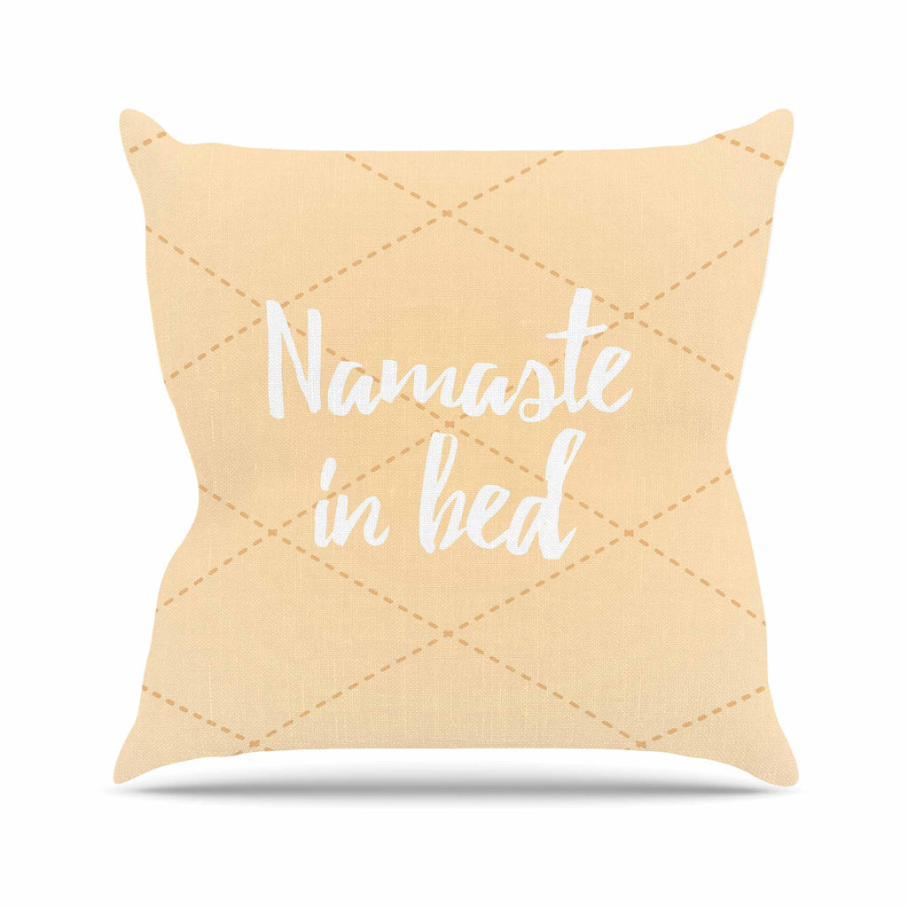 "KESS Original ""Namaste In Bed Yellow"" Tan White Outdoor Throw Pillow - KESS InHouse  - 1"